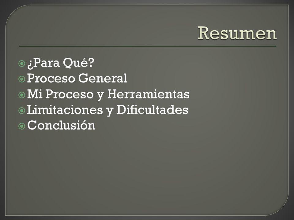 ¿Para Qué? Proceso General Mi Proceso y Herramientas Limitaciones y Dificultades Conclusión