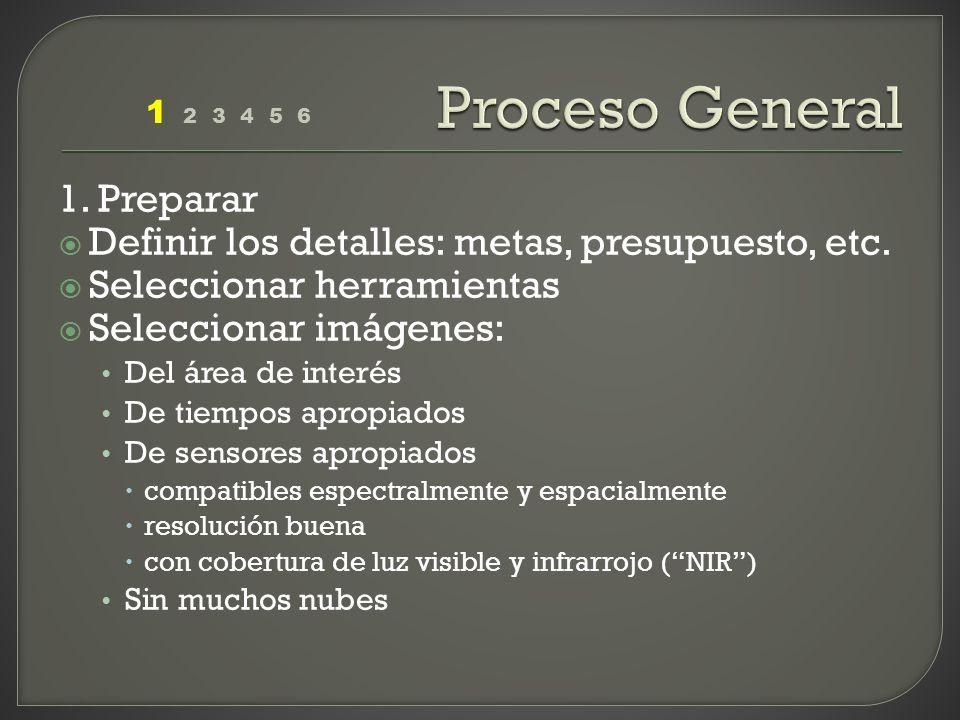 1. Preparar Definir los detalles: metas, presupuesto, etc. Seleccionar herramientas Seleccionar imágenes: Del área de interés De tiempos apropiados De