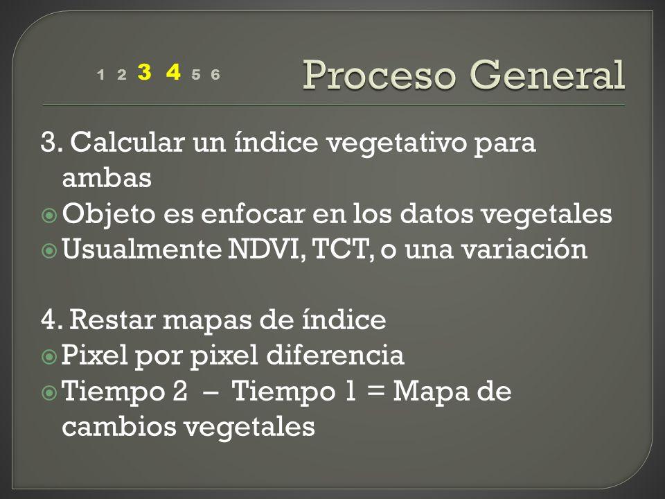 3. Calcular un índice vegetativo para ambas Objeto es enfocar en los datos vegetales Usualmente NDVI, TCT, o una variación 4. Restar mapas de índice P