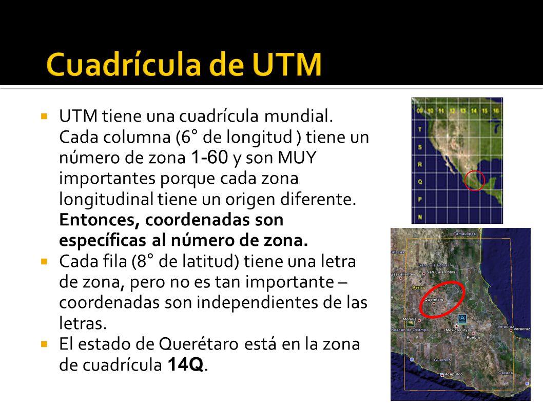 UTM tiene una cuadrícula mundial. Cada columna (6° de longitud ) tiene un número de zona 1-60 y son MUY importantes porque cada zona longitudinal tien