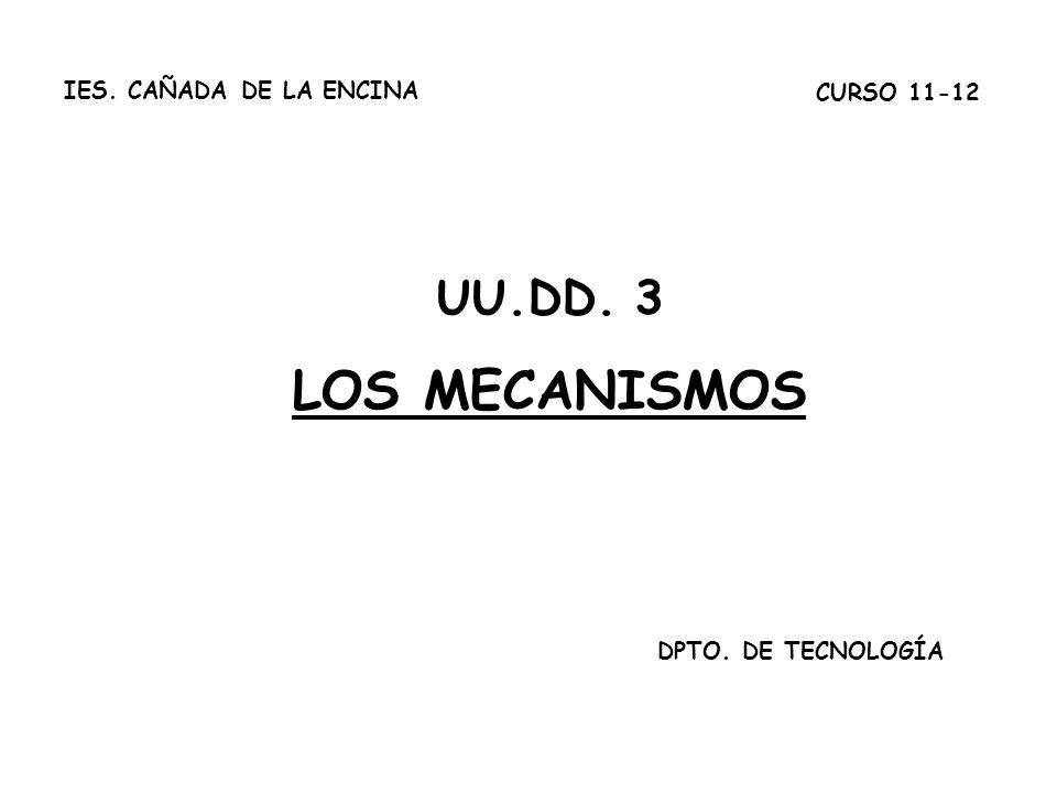 Unidad 4. Transmisión y transformación de movimiento UU.DD. 3 LOS MECANISMOS DPTO. DE TECNOLOGÍA CURSO 11-12 IES. CAÑADA DE LA ENCINA