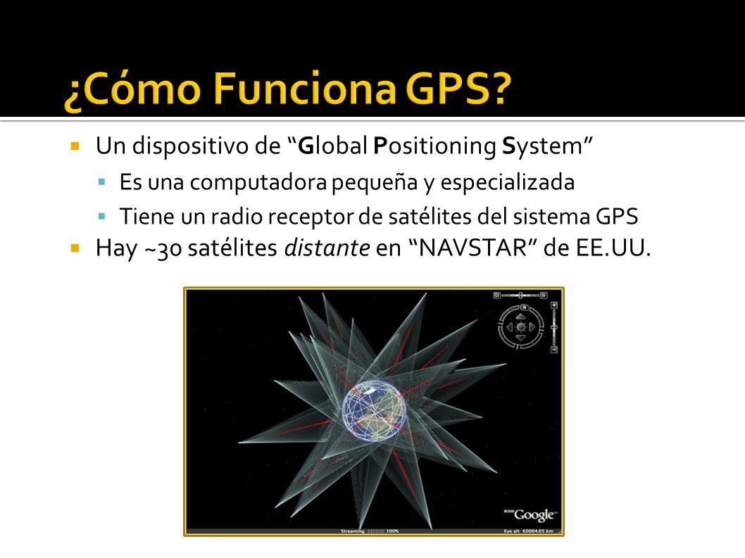 Orbitas de Satélites 16600 miles Las señales de satélites: Unidireccionales – satélites no siguen tus movimientos Débiles – no funciona en interiores Cada señal contiene tiempo actual y posición del satélite en espacio Un dispositivo GPS calcula cada distancia (4 o más) de tiempo transcurrido...