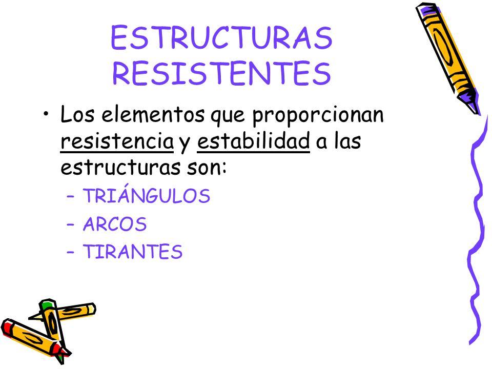 ESTRUCTURAS RESISTENTES Los elementos que proporcionan resistencia y estabilidad a las estructuras son: –TRIÁNGULOS –ARCOS –TIRANTES