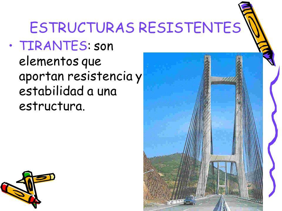 ESTRUCTURAS RESISTENTES TIRANTES: son elementos que aportan resistencia y estabilidad a una estructura.