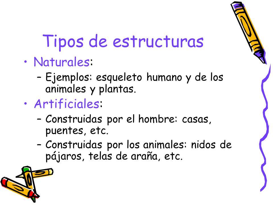 Tipos de estructuras Naturales: –Ejemplos: esqueleto humano y de los animales y plantas. Artificiales: –Construidas por el hombre: casas, puentes, etc