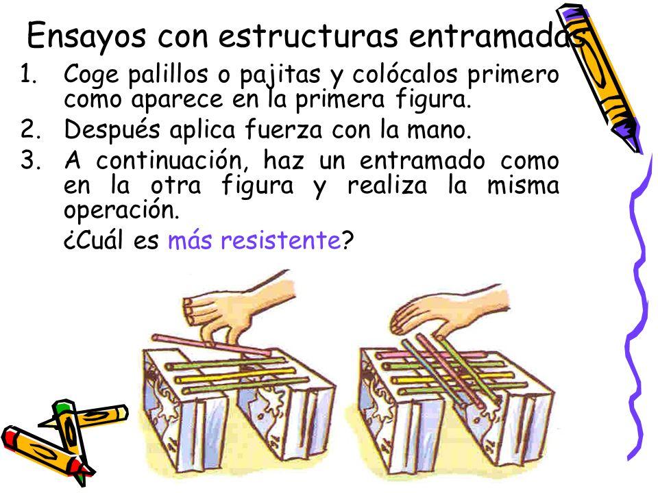 Ensayos con estructuras entramadas 1.Coge palillos o pajitas y colócalos primero como aparece en la primera figura. 2.Después aplica fuerza con la man