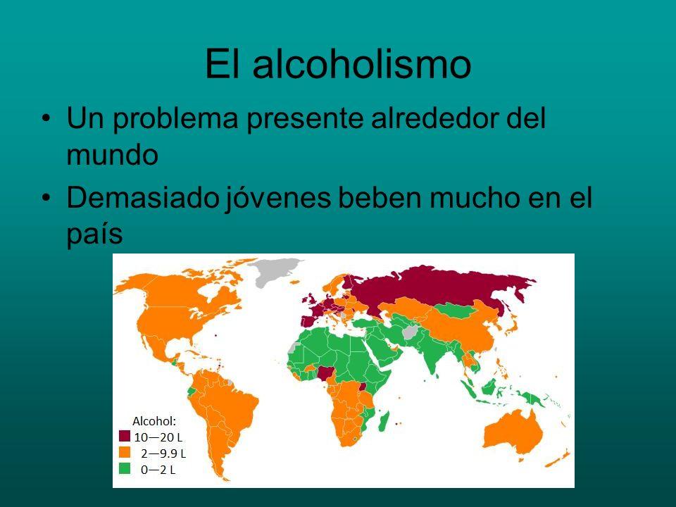 El alcoholismo Un problema presente alrededor del mundo Demasiado jóvenes beben mucho en el país