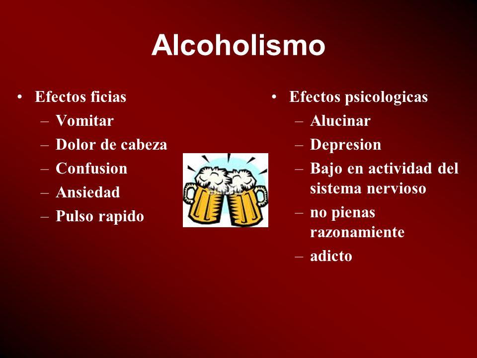 Alcoholismo Efectos ficias –Vomitar –Dolor de cabeza –Confusion –Ansiedad –Pulso rapido Efectos psicologicas –Alucinar –Depresion –Bajo en actividad d