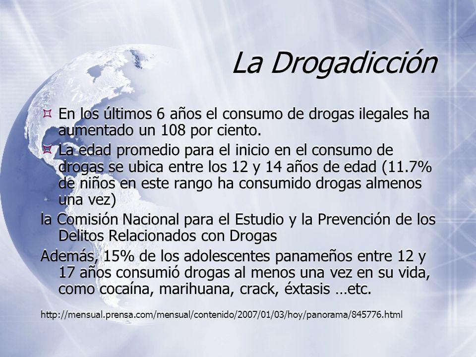 La Drogadicción En los últimos 6 años el consumo de drogas ilegales ha aumentado un 108 por ciento. La edad promedio para el inicio en el consumo de d