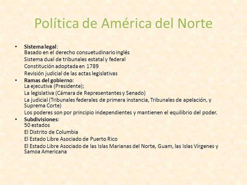 Política de América del Norte Sistema legal: Basado en el derecho consuetudinario inglés Sistema dual de tribunales estatal y federal Constitución ado
