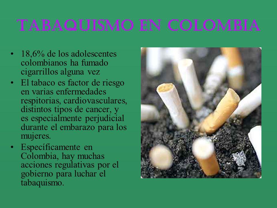 18,6% de los adolescentes colombianos ha fumado cigarrillos alguna vez El tabaco es factor de riesgo en varias enfermedades respitorias, cardiovascula
