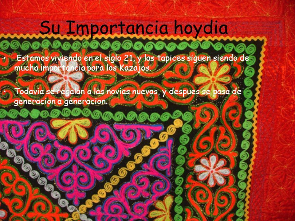Su Importancia hoydia Estamos viviendo en el siglo 21, y las tapices siguen siendo de mucha importancia para los Kazajos. Todavia se regalan a las nov