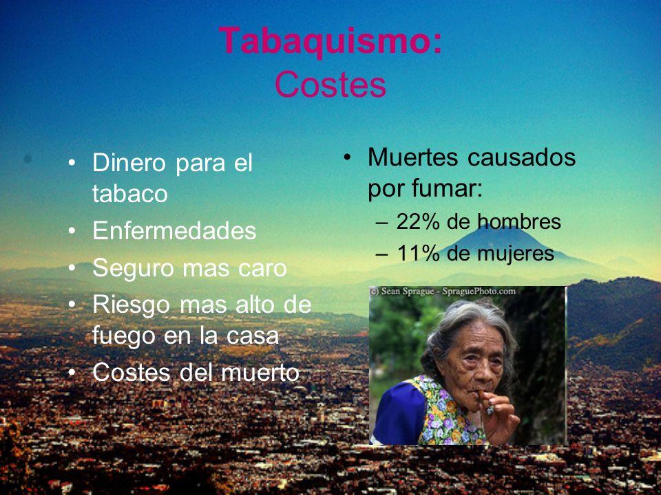 Tabaquismo: Costes Dinero para el tabaco Enfermedades Seguro mas caro Riesgo mas alto de fuego en la casa Costes del muerto Muertes causados por fumar
