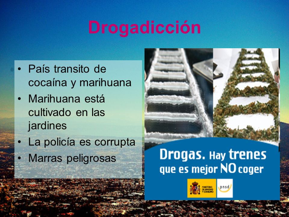 Drogadicción País transito de cocaína y marihuana Marihuana está cultivado en las jardines La policía es corrupta Marras peligrosas
