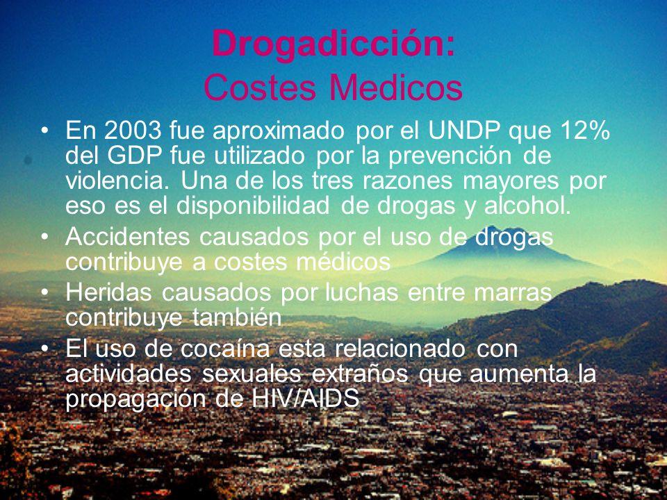 Drogadicción: Costes Medicos En 2003 fue aproximado por el UNDP que 12% del GDP fue utilizado por la prevención de violencia. Una de los tres razones