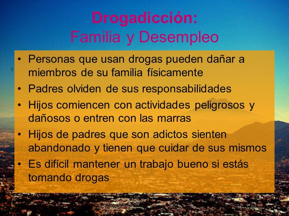 Drogadicción: Familia y Desempleo Personas que usan drogas pueden dañar a miembros de su familia físicamente Padres olviden de sus responsabilidades H