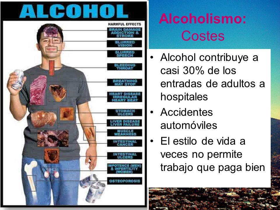 Alcoholismo: Costes Alcohol contribuye a casi 30% de los entradas de adultos a hospitales Accidentes automóviles El estilo de vida a veces no permite