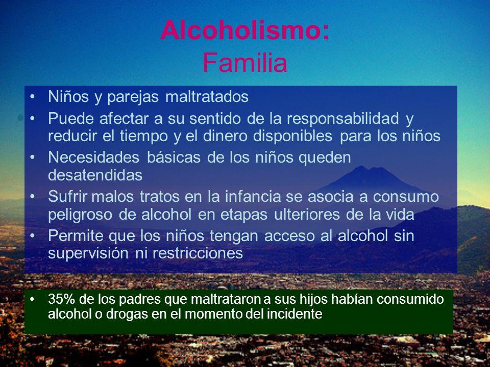 Alcoholismo: Familia Niños y parejas maltratados Puede afectar a su sentido de la responsabilidad y reducir el tiempo y el dinero disponibles para los