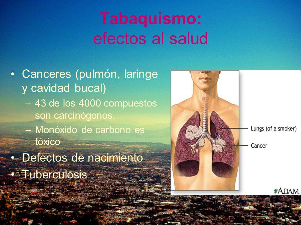 Tabaquismo: efectos al salud Canceres (pulmón, laringe y cavidad bucal) –43 de los 4000 compuestos son carcinógenos. –Monóxido de carbono es tóxico De