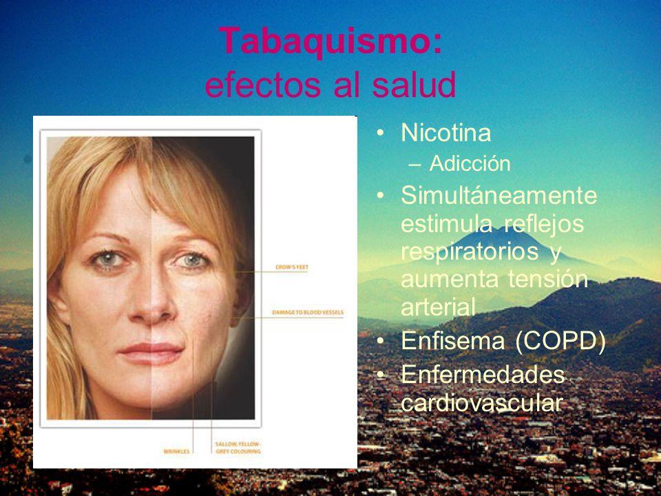 Tabaquismo: efectos al salud Nicotina –Adicción Simultáneamente estimula reflejos respiratorios y aumenta tensión arterial Enfisema (COPD) Enfermedade