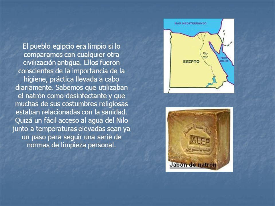 El pueblo egipcio era limpio si lo comparamos con cualquier otra civilización antigua. Ellos fueron conscientes de la importancia de la higiene, práct