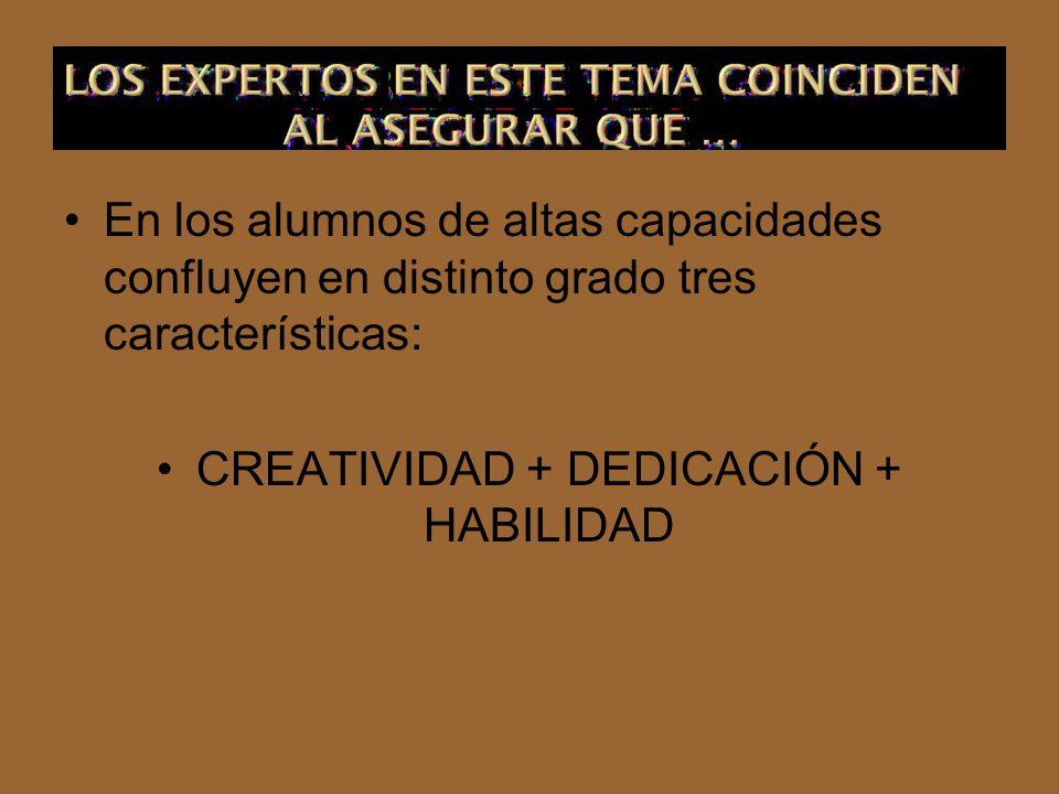 En los alumnos de altas capacidades confluyen en distinto grado tres características: CREATIVIDAD + DEDICACIÓN + HABILIDAD