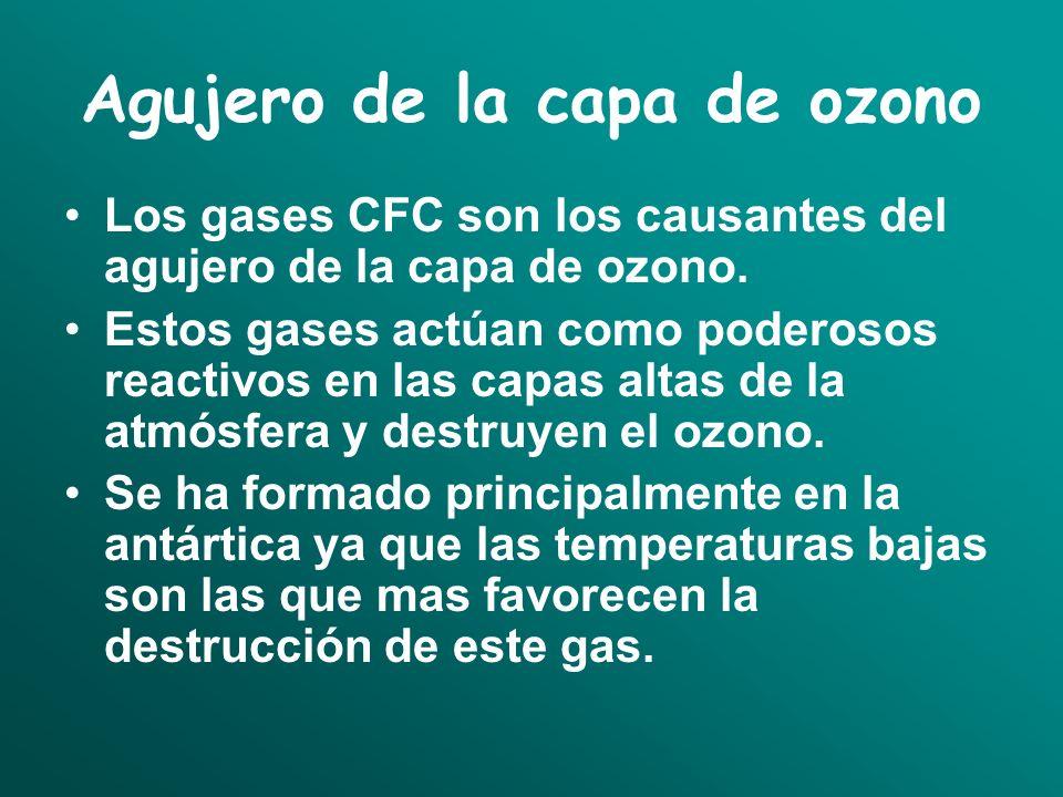Agujero de la capa de ozono Los gases CFC son los causantes del agujero de la capa de ozono. Estos gases actúan como poderosos reactivos en las capas