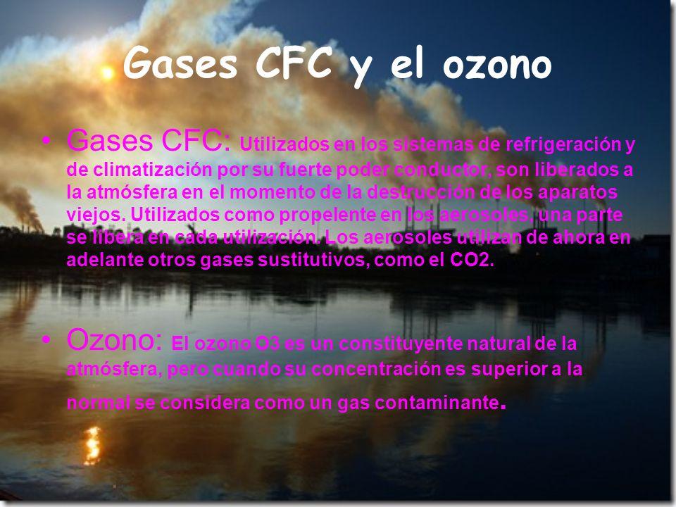 Gases CFC y el ozono Gases CFC: Utilizados en los sistemas de refrigeración y de climatización por su fuerte poder conductor, son liberados a la atmós