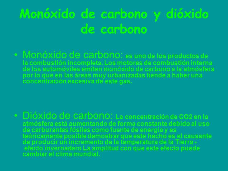 Monóxido de carbono y dióxido de carbono Monóxido de carbono: es uno de los productos de la combustión incompleta. Los motores de combustión interna d