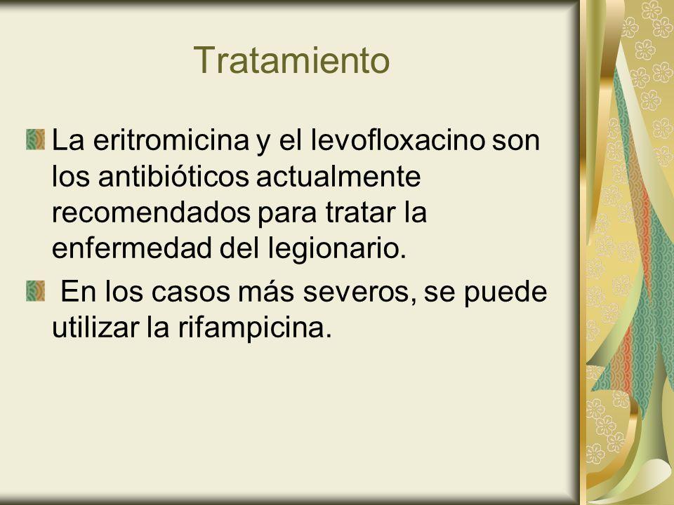 Tratamiento La eritromicina y el levofloxacino son los antibióticos actualmente recomendados para tratar la enfermedad del legionario. En los casos má