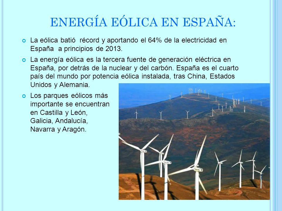 ENERGÍA EÓLICA EN ESPAÑA: La eólica batió récord y aportando el 64% de la electricidad en España a principios de 2013. La energía eólica es la tercera