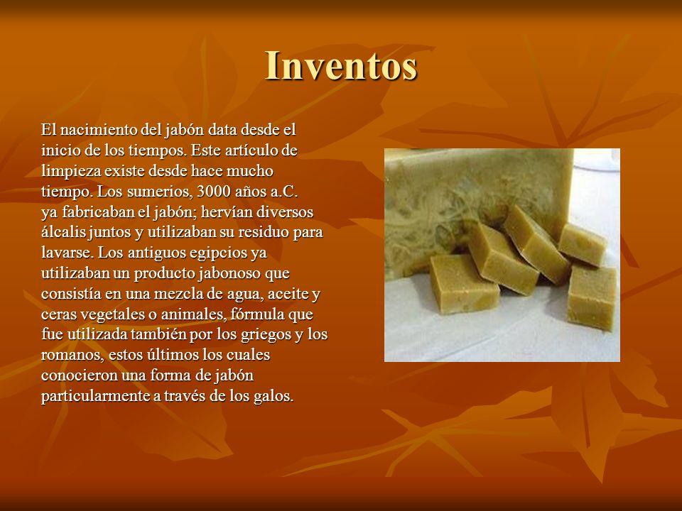 Inventos El nacimiento del jabón data desde el inicio de los tiempos. Este artículo de limpieza existe desde hace mucho tiempo. Los sumerios, 3000 año