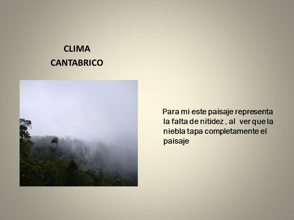 CLIMA CANTABRICO Para mi este paisaje representa la falta de nitidez, al ver que la niebla tapa completamente el paisaje