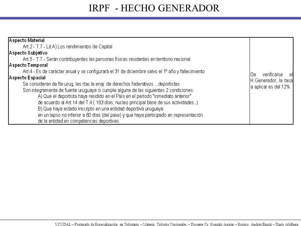 UCUDAL – Postgrado de Especialización en Tributaria – Materia: Tributos Nacionales – Docente Cr.