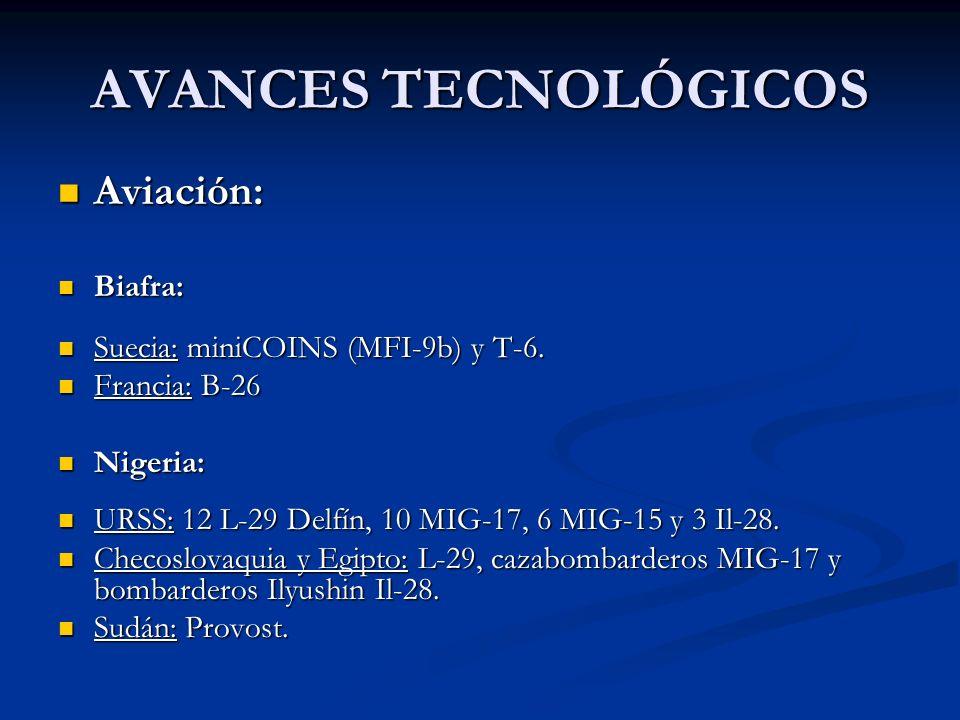 AVANCES TECNOLÓGICOS Aviación: Aviación: Biafra: Biafra: Suecia: miniCOINS (MFI-9b) y T-6. Suecia: miniCOINS (MFI-9b) y T-6. Francia: B-26 Francia: B-