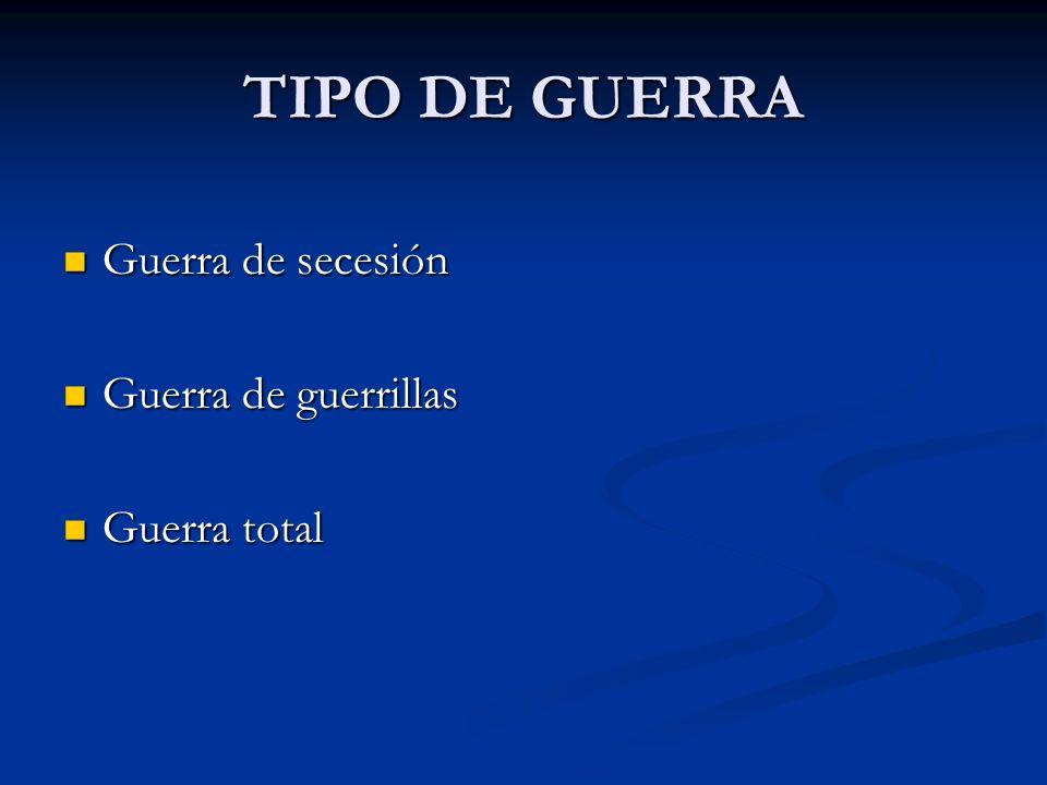 TIPO DE GUERRA Guerra de secesión Guerra de secesión Guerra de guerrillas Guerra de guerrillas Guerra total Guerra total