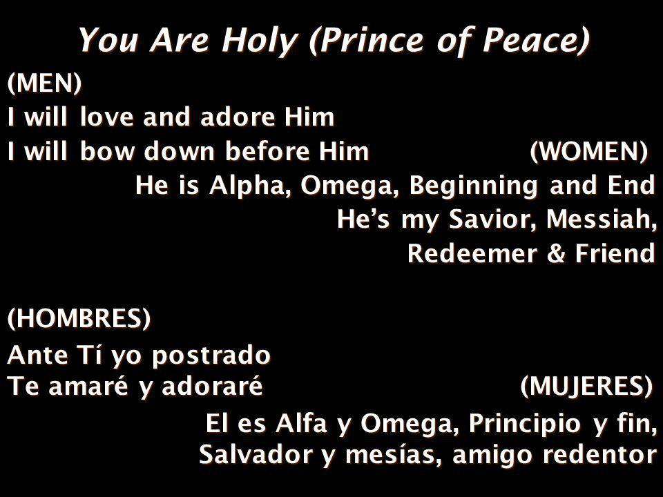 You Are Holy (Prince of Peace) (ALL) Youre my Prince of Peace And I will live my life for You.