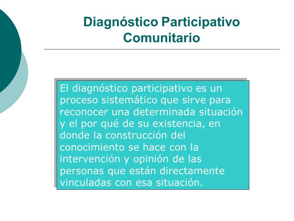 Diagnóstico Participativo Comunitario El diagnóstico participativo es un proceso sistemático que sirve para reconocer una determinada situación y el p