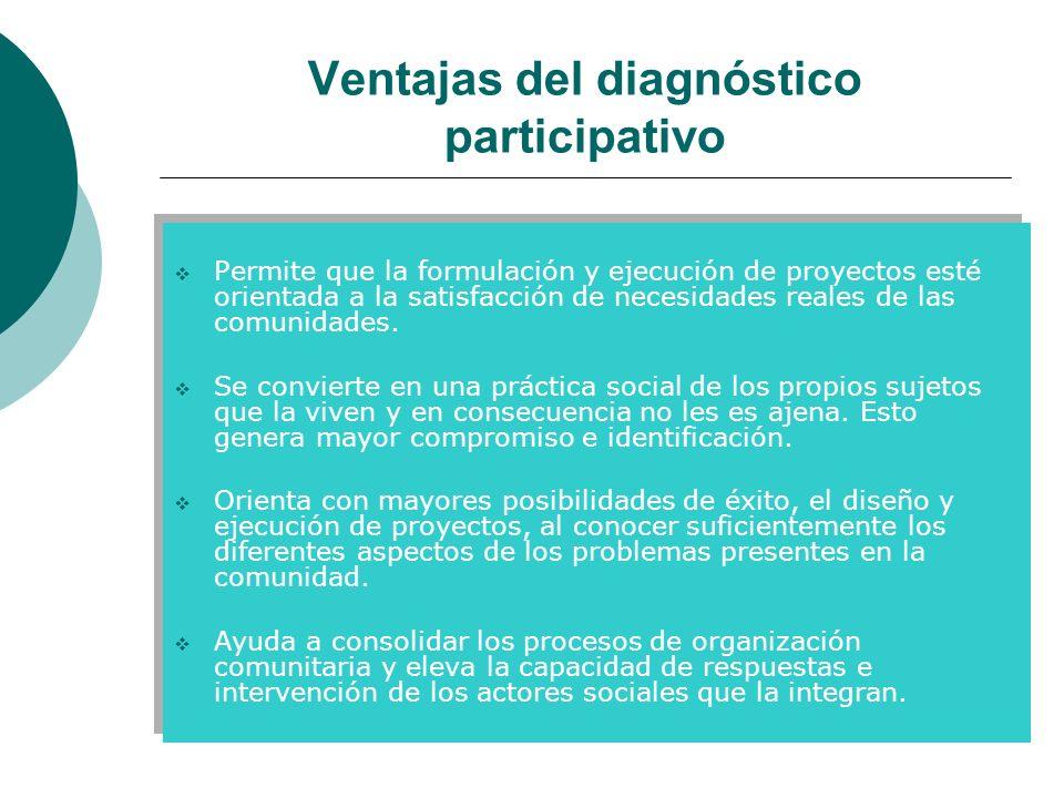 Ventajas del diagnóstico participativo Permite que la formulación y ejecución de proyectos esté orientada a la satisfacción de necesidades reales de l