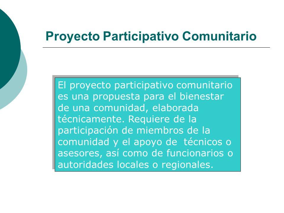 Proyecto Participativo Comunitario El proyecto participativo comunitario es una propuesta para el bienestar de una comunidad, elaborada técnicamente.