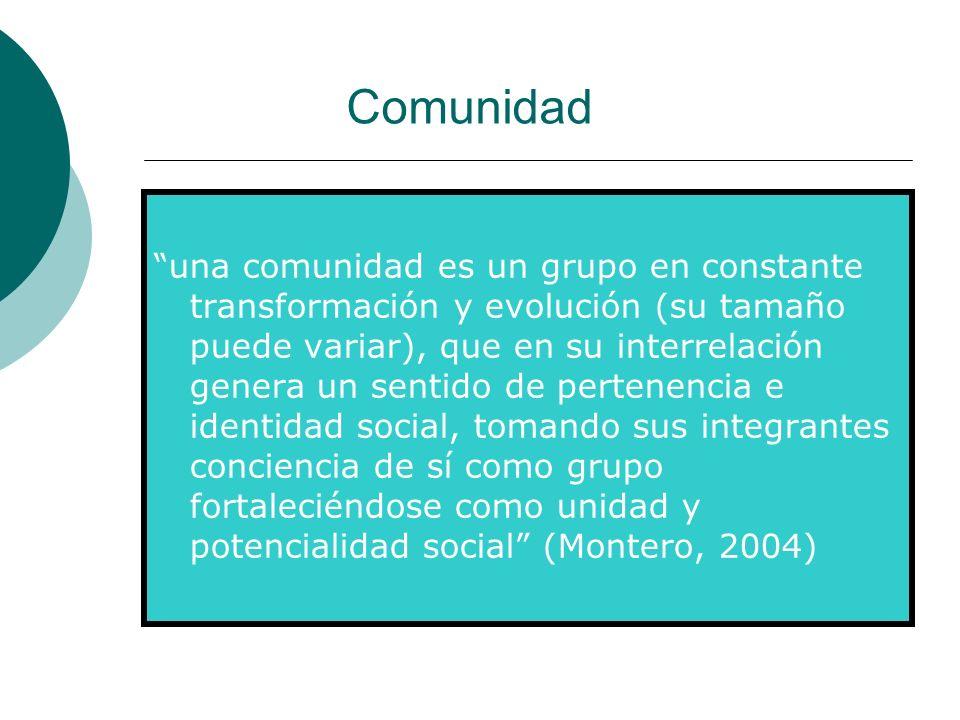 Comunidad una comunidad es un grupo en constante transformación y evolución (su tamaño puede variar), que en su interrelación genera un sentido de per