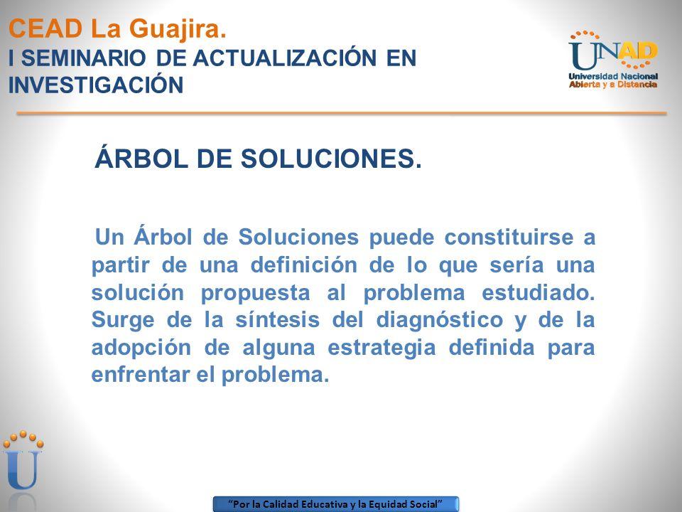 Por la Calidad Educativa y la Equidad Social CEAD La Guajira. I SEMINARIO DE ACTUALIZACIÓN EN INVESTIGACIÓN ÁRBOL DE SOLUCIONES. Un Árbol de Solucione