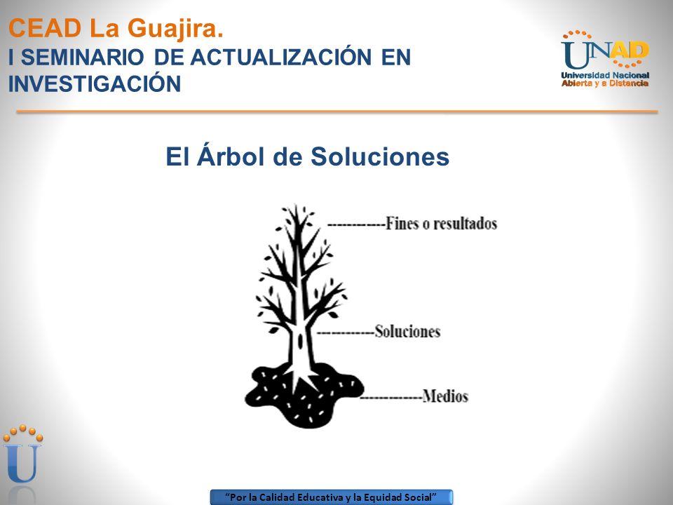 Por la Calidad Educativa y la Equidad Social CEAD La Guajira. I SEMINARIO DE ACTUALIZACIÓN EN INVESTIGACIÓN El Árbol de Soluciones