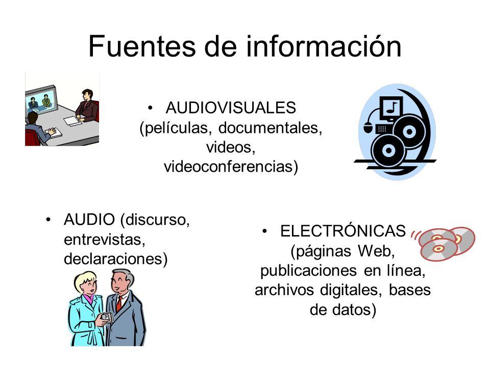 Fuentes de información AUDIOVISUALES (películas, documentales, videos, videoconferencias) AUDIO (discurso, entrevistas, declaraciones) ELECTRÓNICAS (p