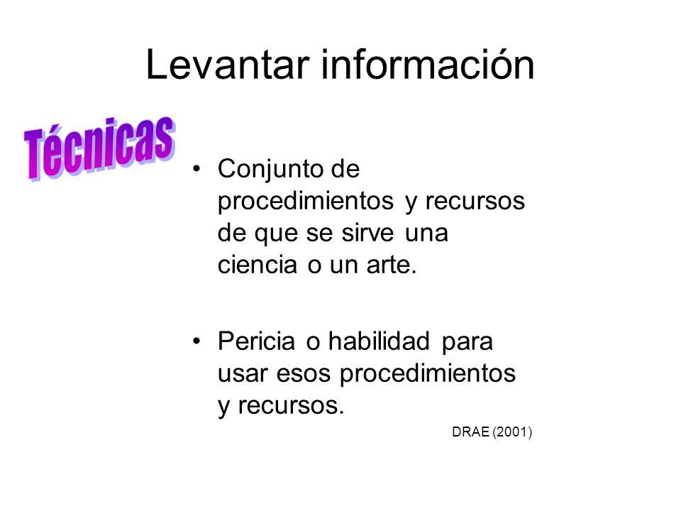 Levantar información Conjunto de procedimientos y recursos de que se sirve una ciencia o un arte. Pericia o habilidad para usar esos procedimientos y