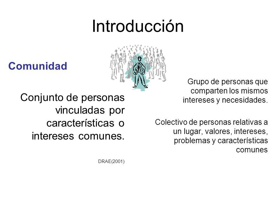 Introducción Grupo de personas que comparten los mismos intereses y necesidades. Colectivo de personas relativas a un lugar, valores, intereses, probl