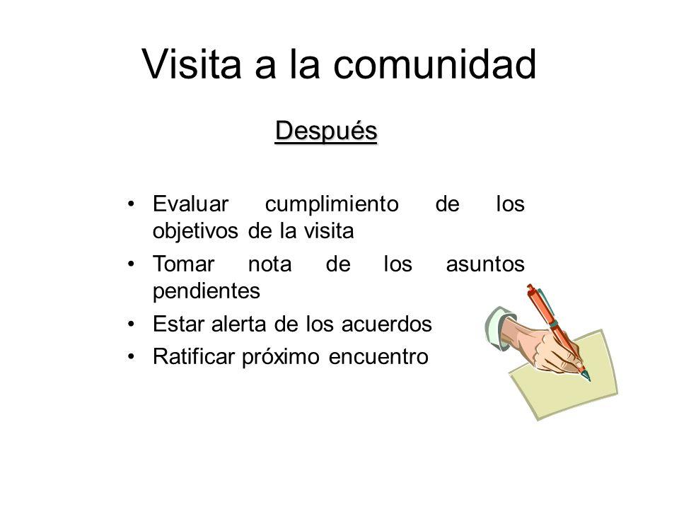 Visita a la comunidad Después Evaluar cumplimiento de los objetivos de la visita Tomar nota de los asuntos pendientes Estar alerta de los acuerdos Rat