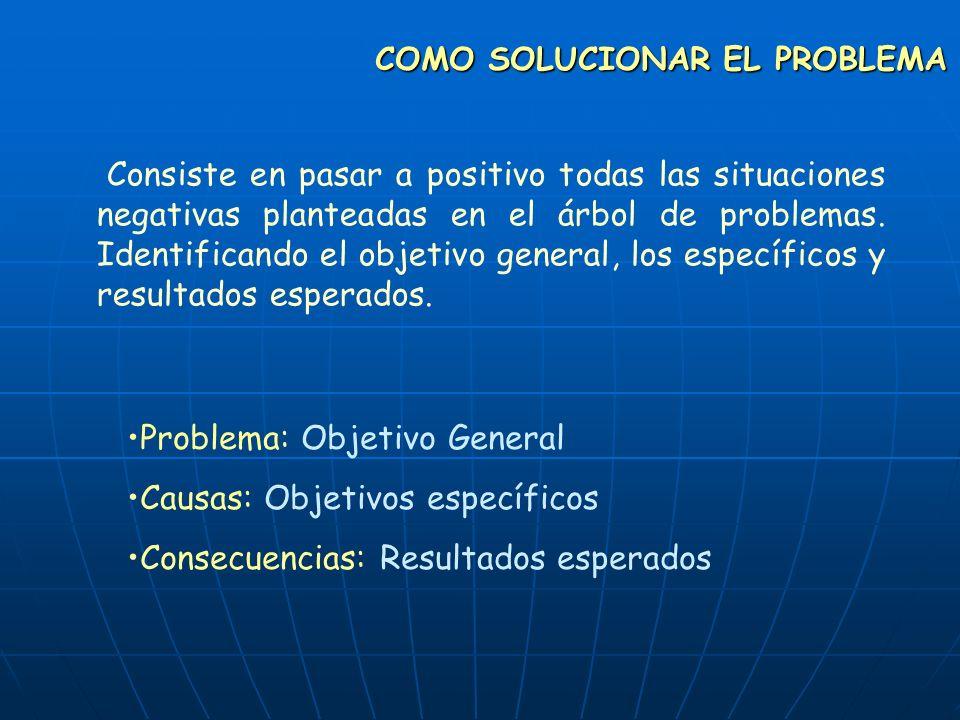 COMO SOLUCIONAR EL PROBLEMA Consiste en pasar a positivo todas las situaciones negativas planteadas en el árbol de problemas. Identificando el objetiv