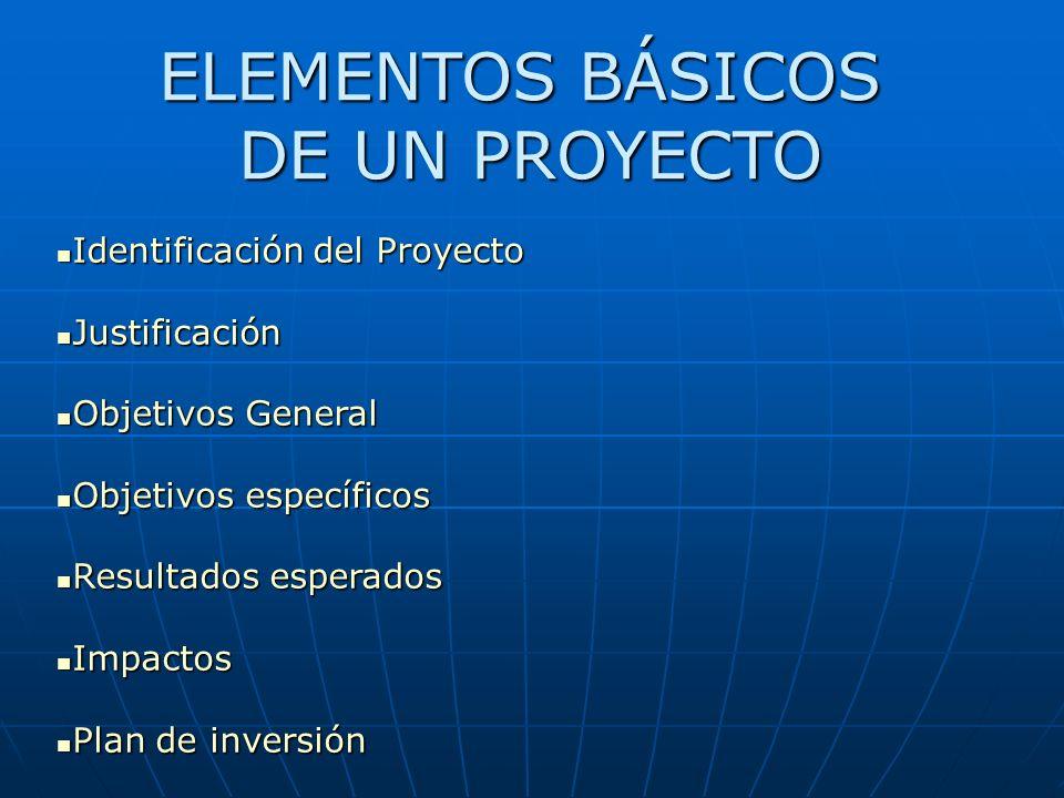 Identificación del Proyecto Identificación del Proyecto Justificación Justificación Objetivos General Objetivos General Objetivos específicos Objetivo