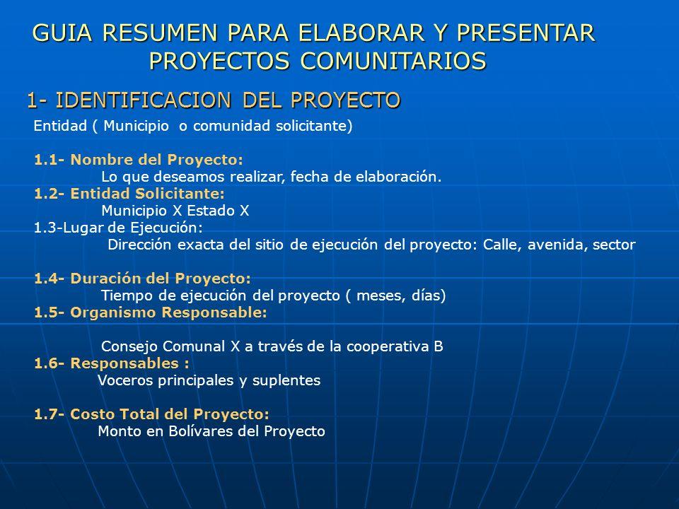 Entidad ( Municipio o comunidad solicitante) 1.1- Nombre del Proyecto: Lo que deseamos realizar, fecha de elaboración. 1.2- Entidad Solicitante: Munic
